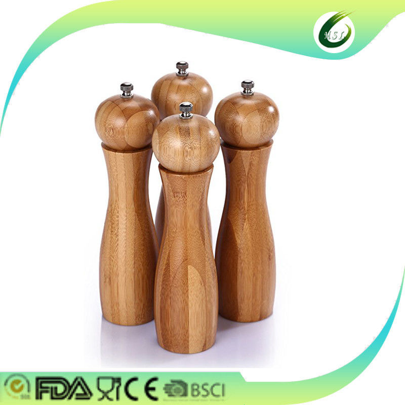 Eco Friendly Manual Bamboo Pepper Mill Antibacterial For Hotel Kitchen