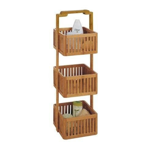 Natural Bamboo Basket Bathroom Storage Caddy 3 Tier Free Standing Easy Cleaning